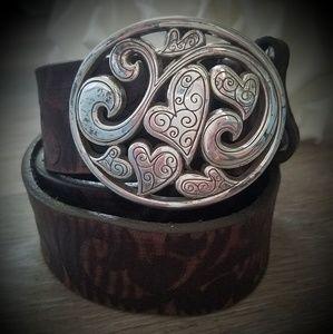 "Brighton Leather Belt Brown & Silver 30-34"""